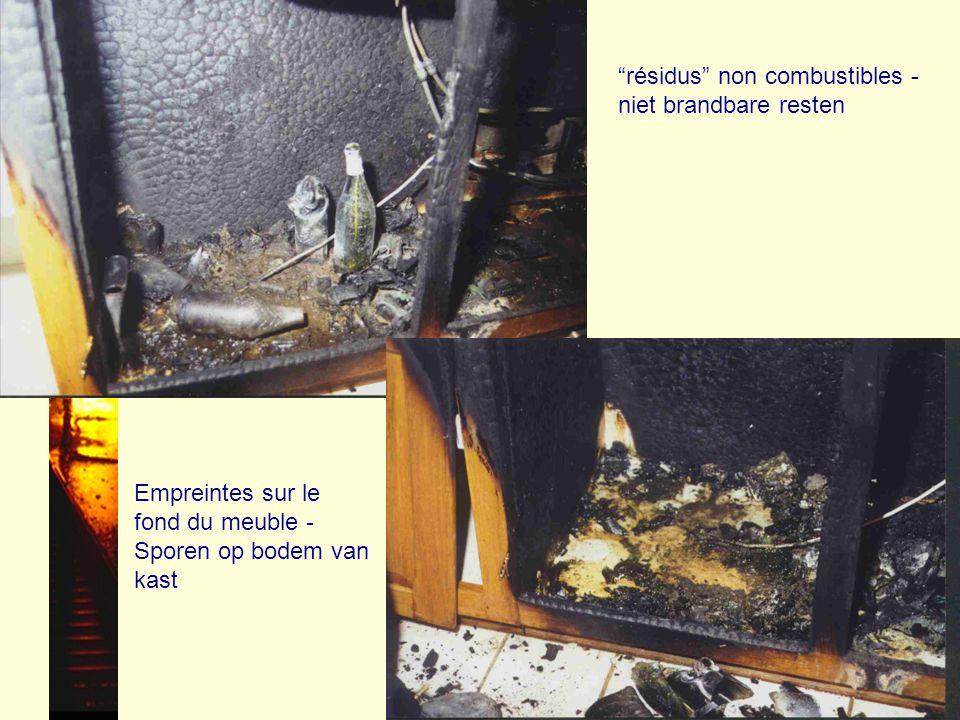résidus non combustibles - niet brandbare resten