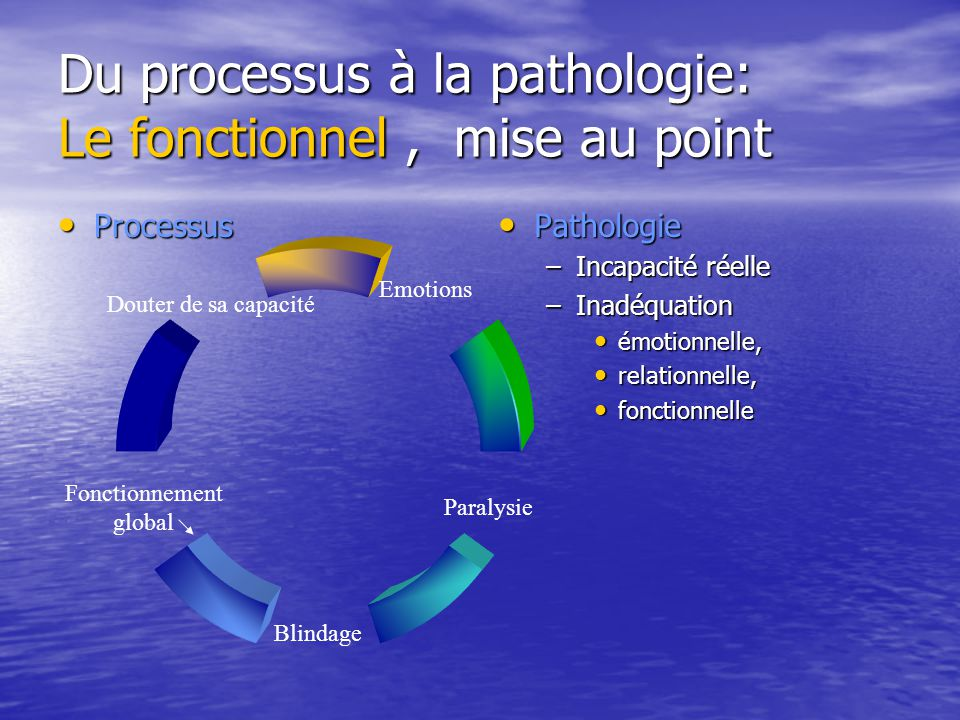 Du processus à la pathologie: Le fonctionnel , mise au point