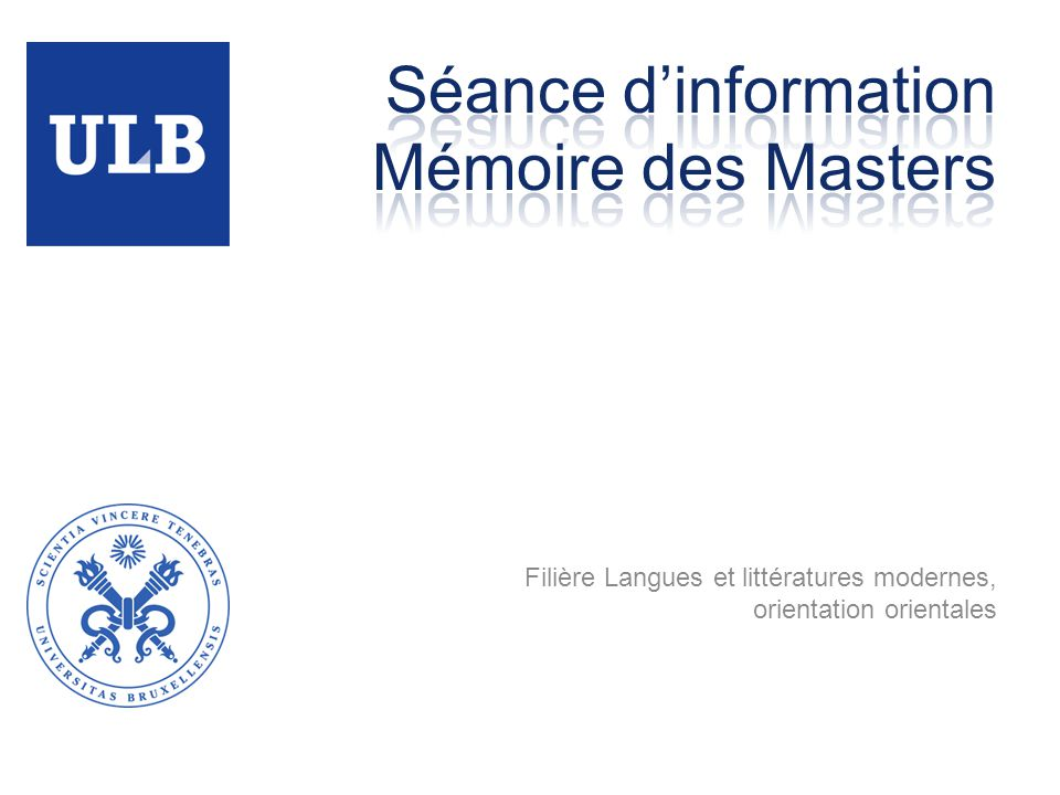 Séance d'information Mémoire des Masters