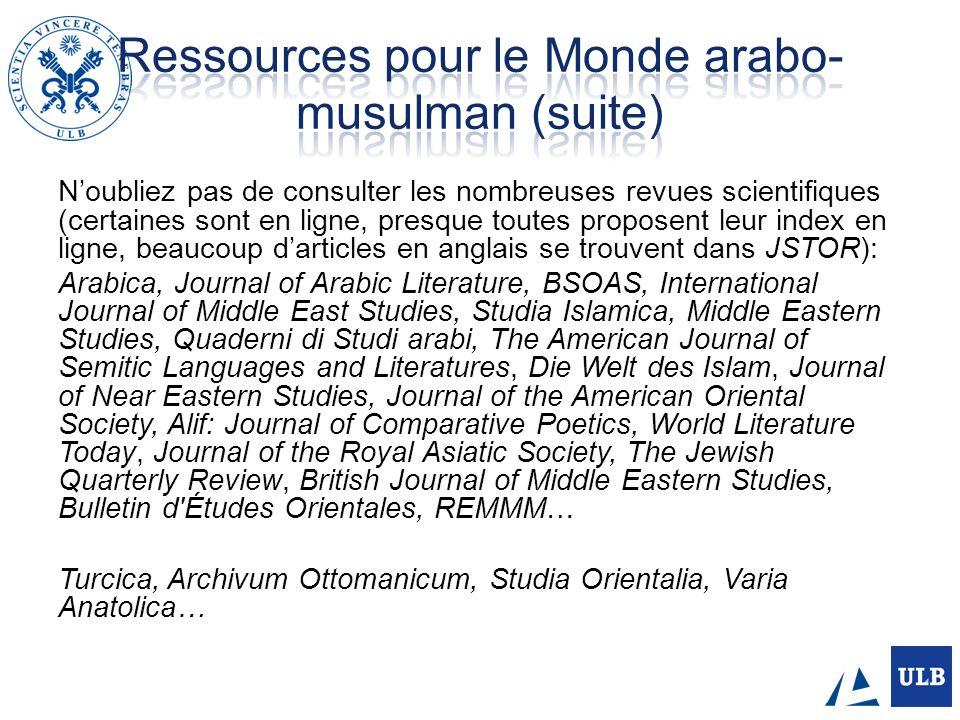 Ressources pour le Monde arabo-musulman (suite)