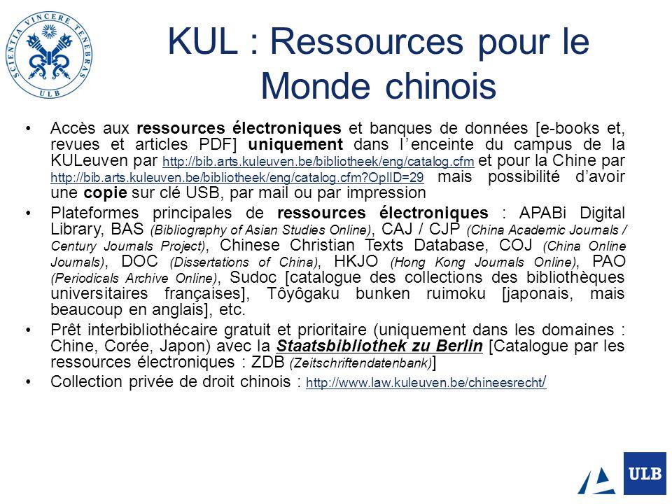 KUL : Ressources pour le Monde chinois