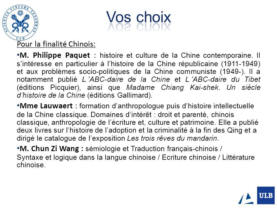 Vos choix Pour la finalité Chinois: