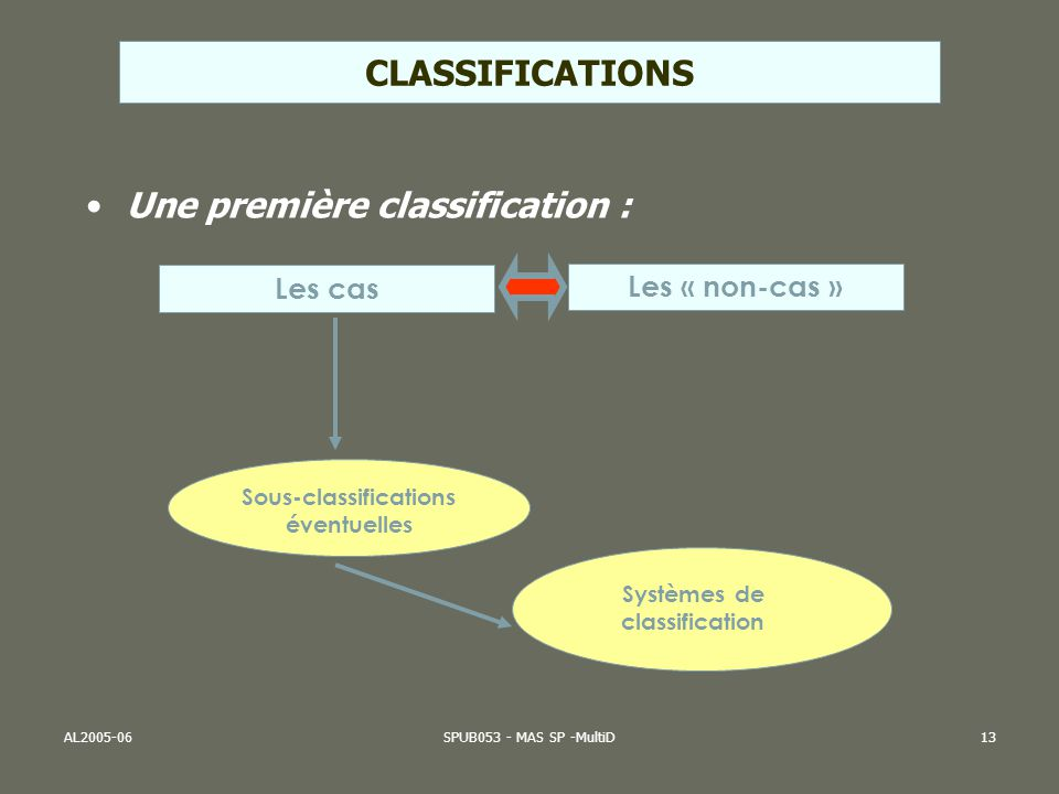 Sous-classifications éventuelles Systèmes de classification
