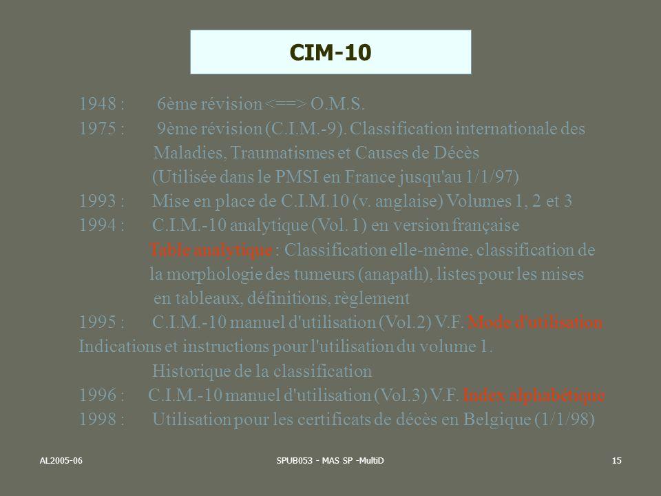 CIM-10 1948 : 6ème révision <==> O.M.S.