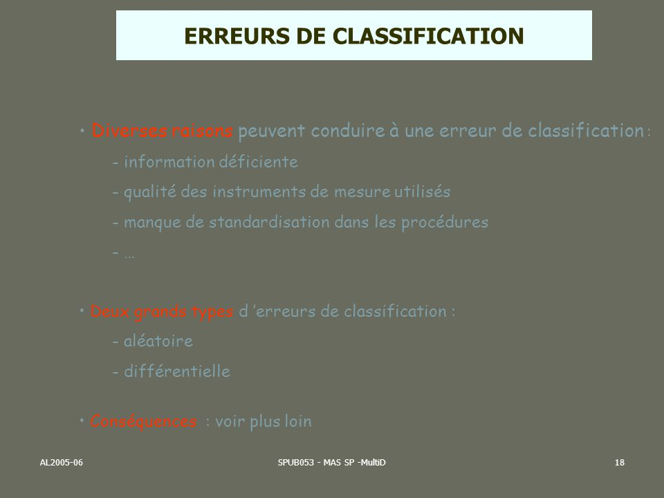 ERREURS DE CLASSIFICATION