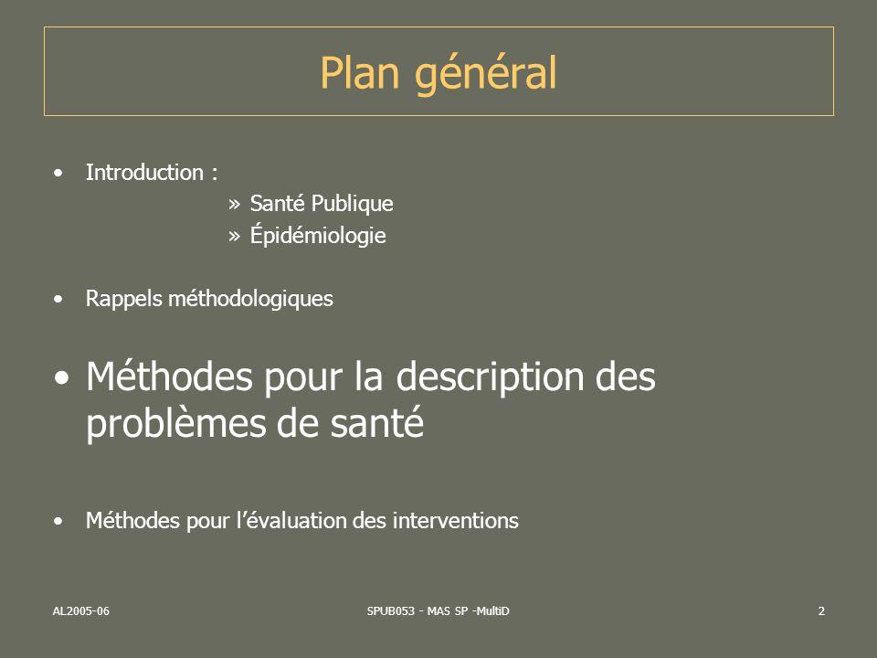 Plan général Méthodes pour la description des problèmes de santé