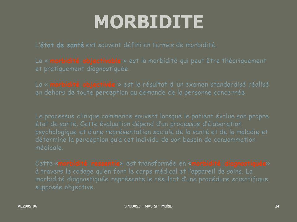 MORBIDITE L'état de santé est souvent défini en termes de morbidité.