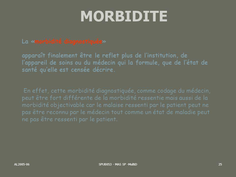 MORBIDITE La «morbidité diagnostiquée»