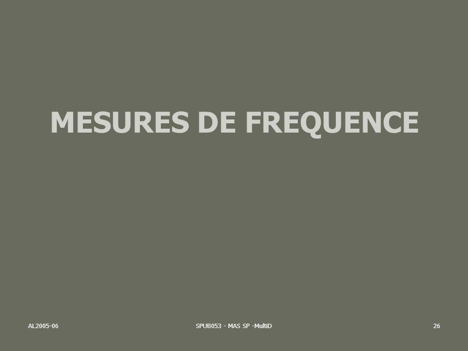 MESURES DE FREQUENCE AL2005-06 SPUB053 - MAS SP -MultiD