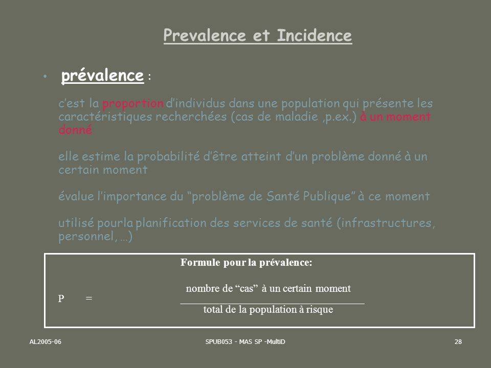 Prevalence et Incidence