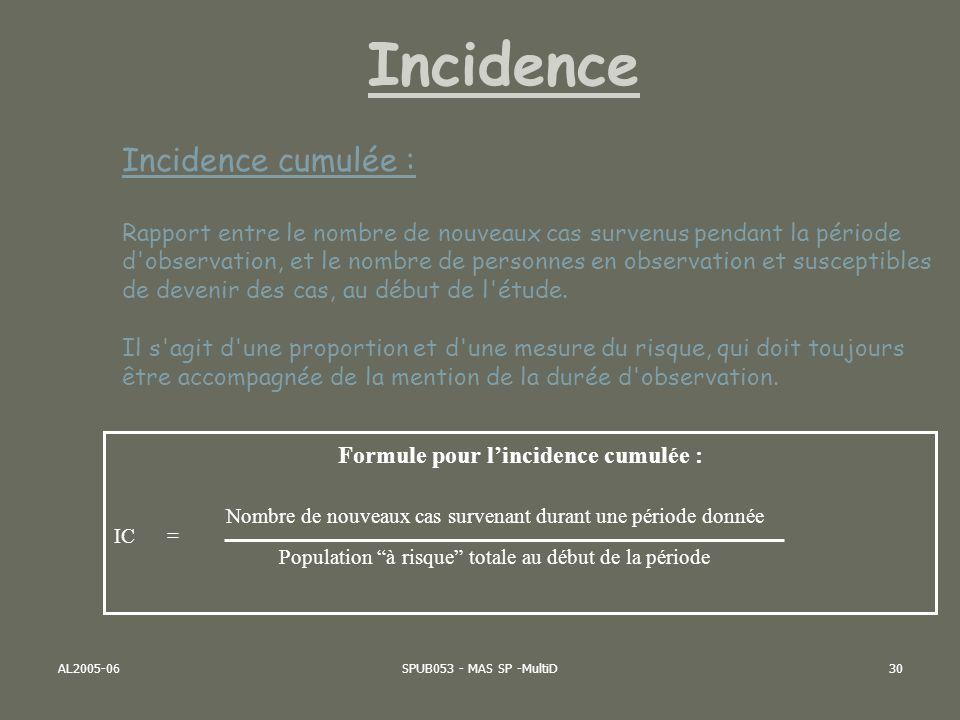 Formule pour l'incidence cumulée :