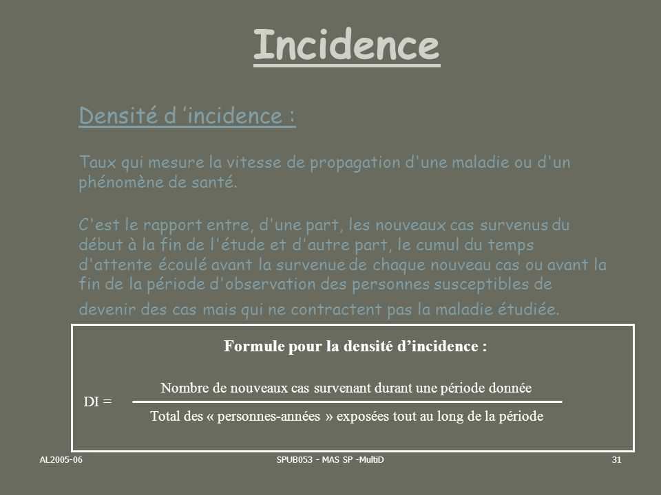 Formule pour la densité d'incidence :