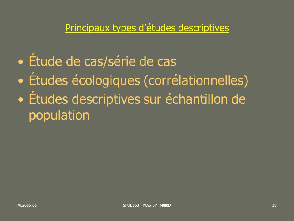 Principaux types d'études descriptives