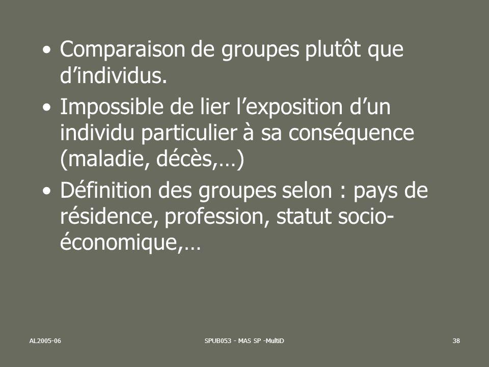 Comparaison de groupes plutôt que d'individus.