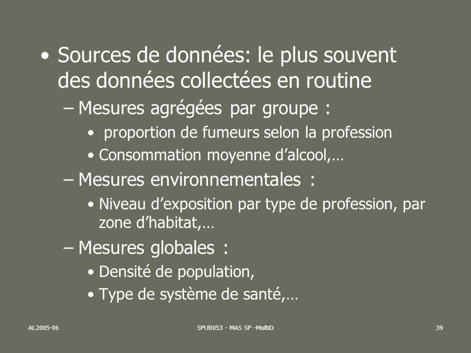 Sources de données: le plus souvent des données collectées en routine