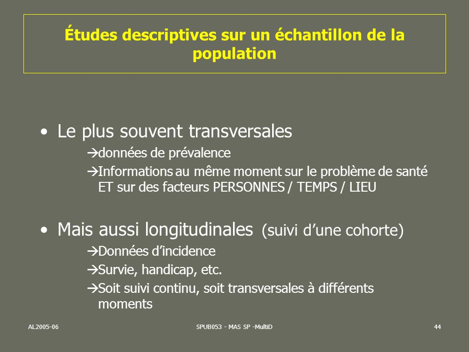 Études descriptives sur un échantillon de la population