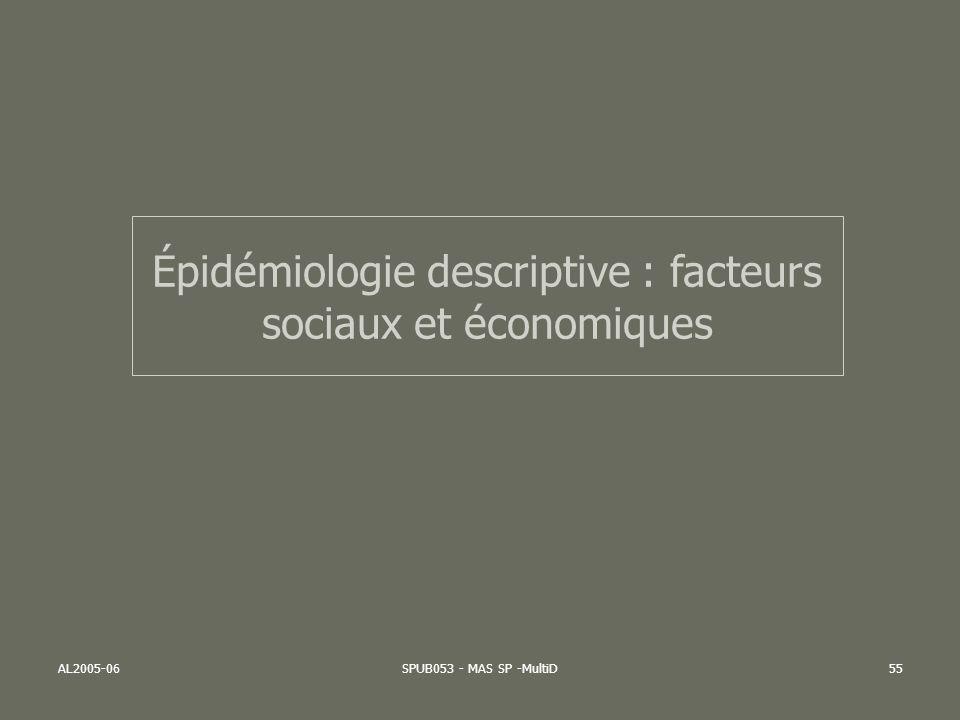Épidémiologie descriptive : facteurs sociaux et économiques