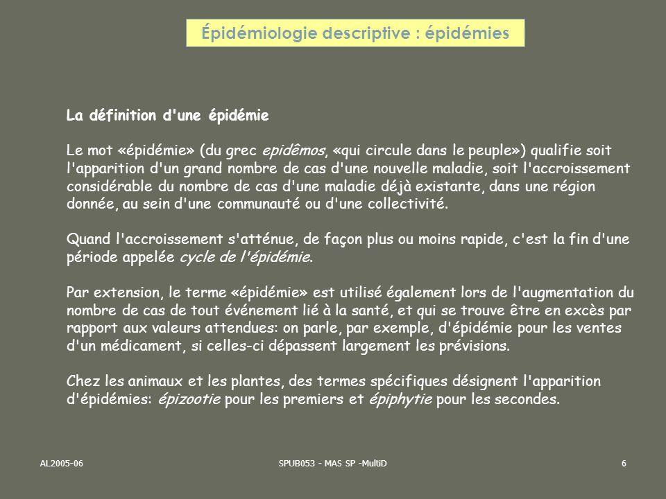 Épidémiologie descriptive : épidémies