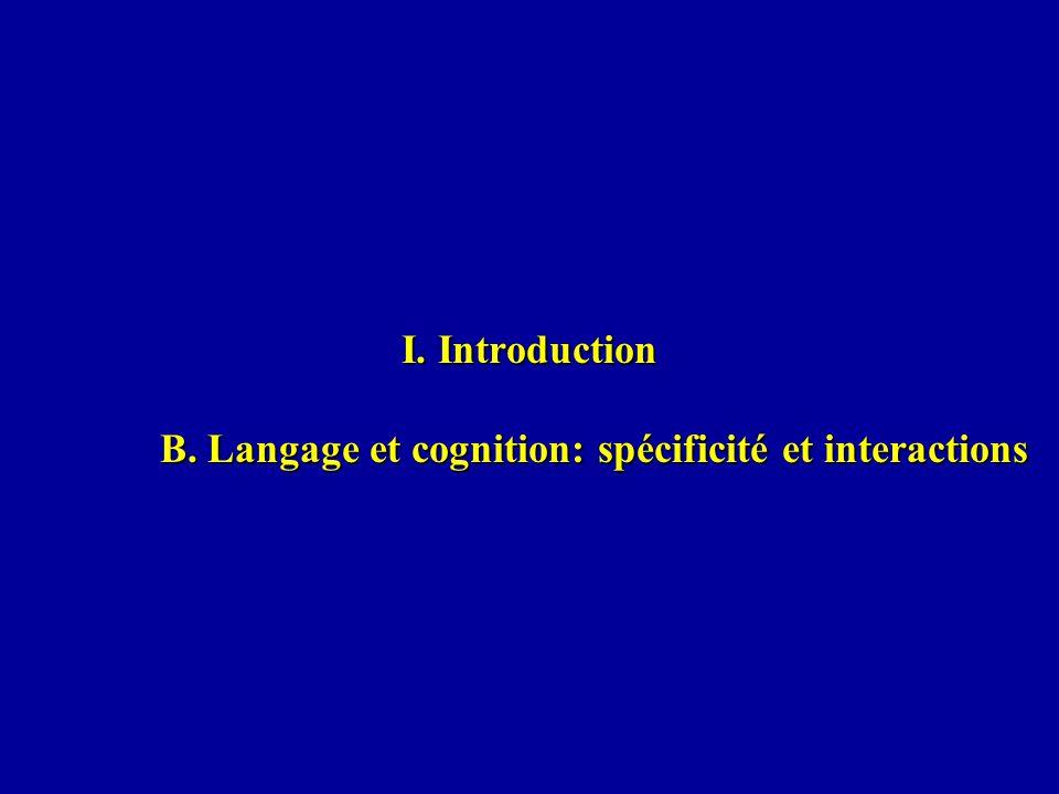 I. Introduction B. Langage et cognition: spécificité et interactions
