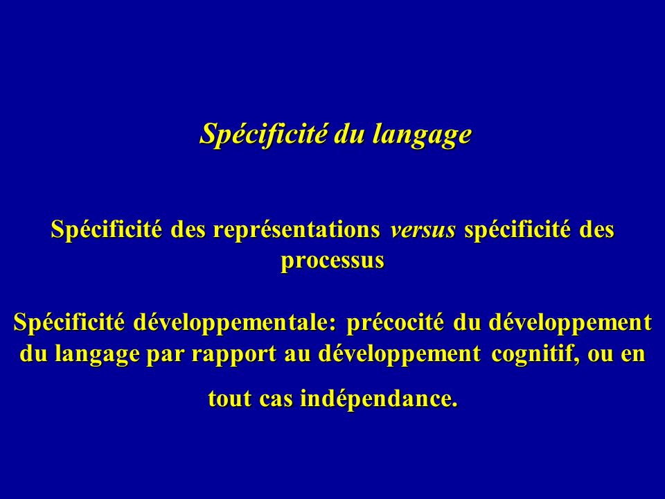 Spécificité du langage Spécificité des représentations versus spécificité des processus Spécificité développementale: précocité du développement du langage par rapport au développement cognitif, ou en tout cas indépendance.