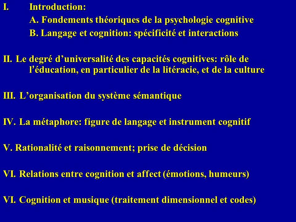 Introduction: A. Fondements théoriques de la psychologie cognitive. B. Langage et cognition: spécificité et interactions.