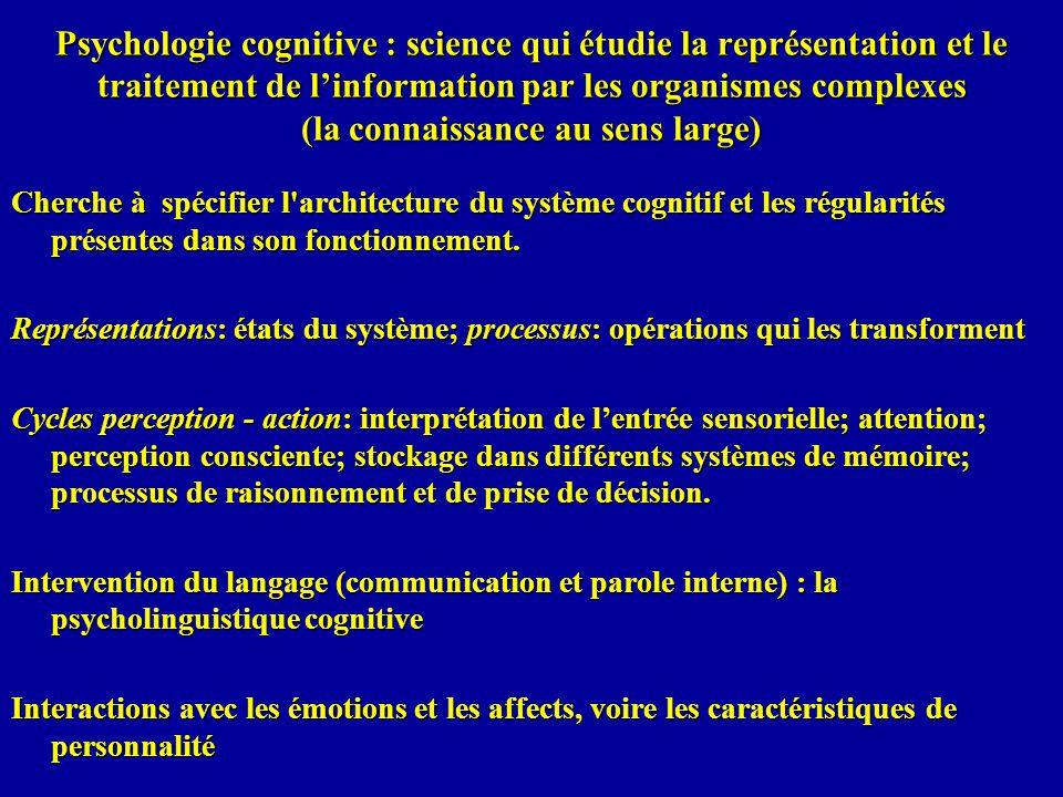 Psychologie cognitive : science qui étudie la représentation et le traitement de l'information par les organismes complexes (la connaissance au sens large)