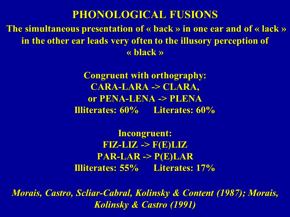 PHONOLOGICAL FUSIONS The simultaneous presentation of « back » in one ear and of « lack » in the other ear leads very often to the illusory perception of « black » Congruent with orthography: CARA-LARA -> CLARA, or PENA-LENA -> PLENA Illiterates: 60% Literates: 60% Incongruent: FIZ-LIZ -> F(E)LIZ PAR-LAR -> P(E)LAR Illiterates: 55% Literates: 17% Morais, Castro, Scliar-Cabral, Kolinsky & Content (1987); Morais, Kolinsky & Castro (1991)