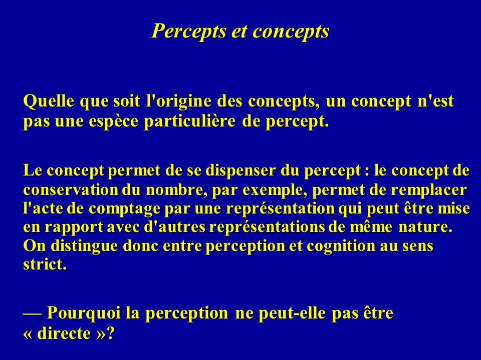 Percepts et concepts Quelle que soit l origine des concepts, un concept n est pas une espèce particulière de percept.