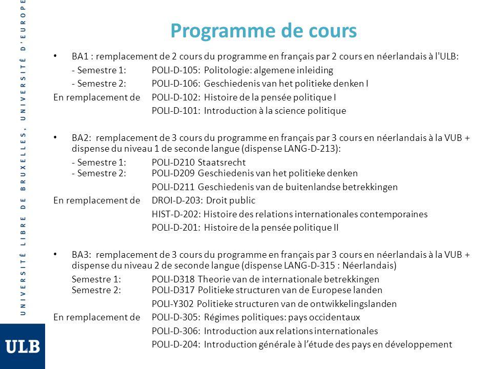 Programme de cours BA1 : remplacement de 2 cours du programme en français par 2 cours en néerlandais à l ULB:
