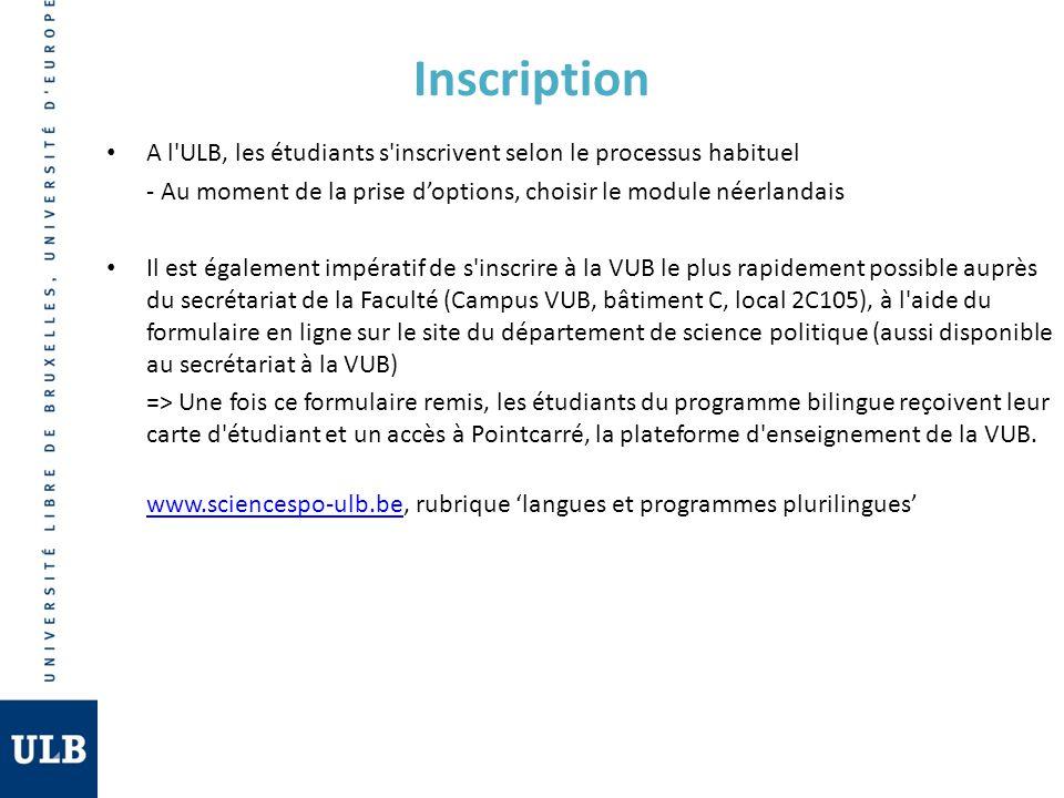 Inscription A l ULB, les étudiants s inscrivent selon le processus habituel. - Au moment de la prise d'options, choisir le module néerlandais.