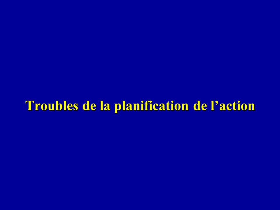 Troubles de la planification de l'action