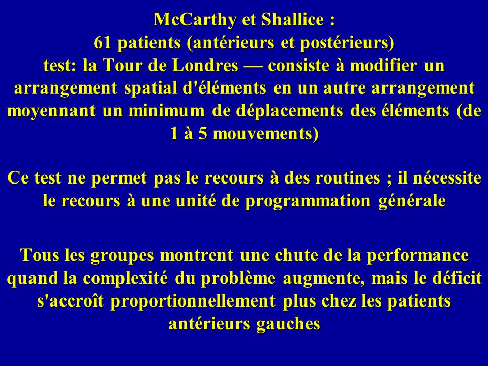 McCarthy et Shallice : 61 patients (antérieurs et postérieurs) test: la Tour de Londres — consiste à modifier un arrangement spatial d éléments en un autre arrangement moyennant un minimum de déplacements des éléments (de 1 à 5 mouvements)