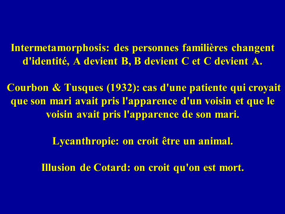 Intermetamorphosis: des personnes familières changent d identité, A devient B, B devient C et C devient A.