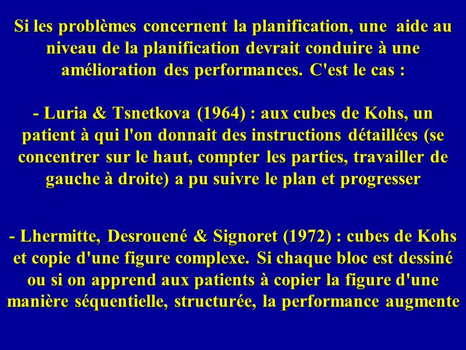 Si les problèmes concernent la planification, une aide au niveau de la planification devrait conduire à une amélioration des performances. C est le cas : - Luria & Tsnetkova (1964) : aux cubes de Kohs, un patient à qui l on donnait des instructions détaillées (se concentrer sur le haut, compter les parties, travailler de gauche à droite) a pu suivre le plan et progresser