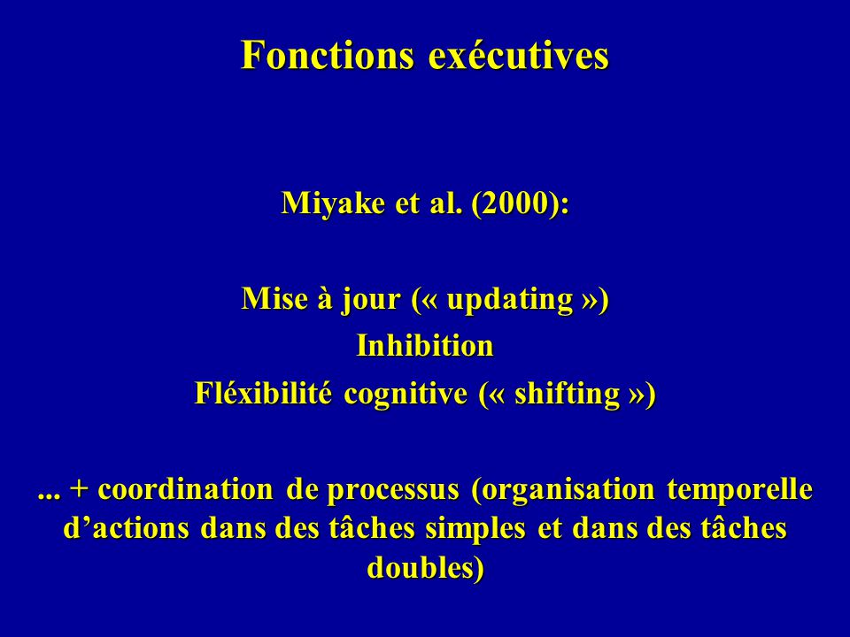 Mise à jour (« updating ») Fléxibilité cognitive (« shifting »)