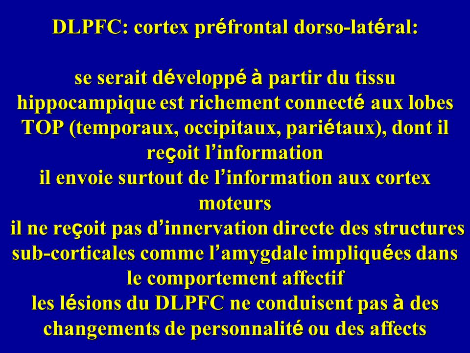 DLPFC: cortex préfrontal dorso-latéral: se serait développé à partir du tissu hippocampique est richement connecté aux lobes TOP (temporaux, occipitaux, pariétaux), dont il reçoit l'information il envoie surtout de l'information aux cortex moteurs il ne reçoit pas d'innervation directe des structures sub-corticales comme l'amygdale impliquées dans le comportement affectif les lésions du DLPFC ne conduisent pas à des changements de personnalité ou des affects