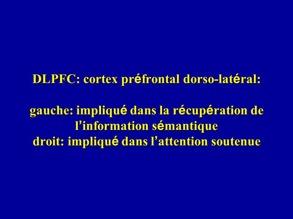 DLPFC: cortex préfrontal dorso-latéral: gauche: impliqué dans la récupération de l'information sémantique droit: impliqué dans l'attention soutenue