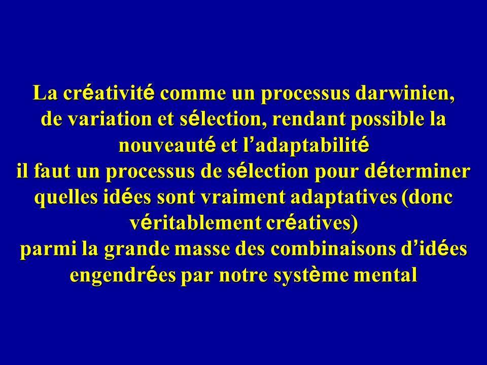 La créativité comme un processus darwinien, de variation et sélection, rendant possible la nouveauté et l'adaptabilité il faut un processus de sélection pour déterminer quelles idées sont vraiment adaptatives (donc véritablement créatives) parmi la grande masse des combinaisons d'idées engendrées par notre système mental