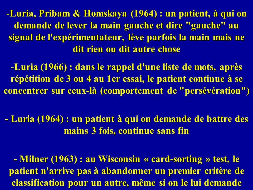 Luria, Pribam & Homskaya (1964) : un patient, à qui on demande de lever la main gauche et dire gauche au signal de l expérimentateur, lève parfois la main mais ne dit rien ou dit autre chose