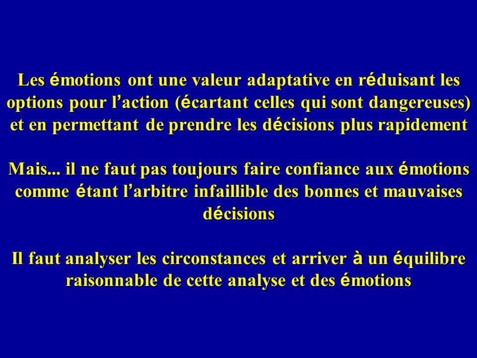 Les émotions ont une valeur adaptative en réduisant les options pour l'action (écartant celles qui sont dangereuses) et en permettant de prendre les décisions plus rapidement Mais...