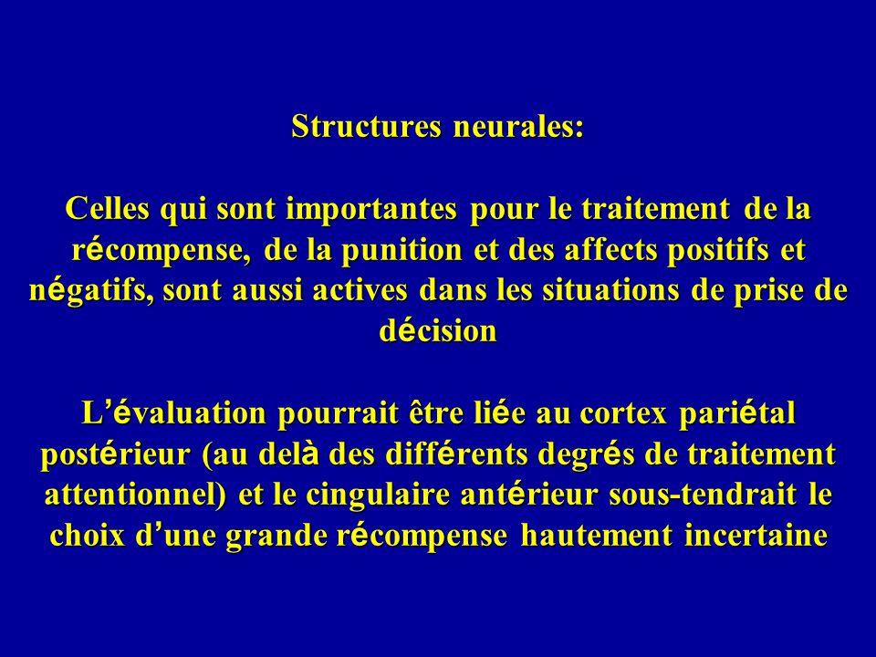 Structures neurales: Celles qui sont importantes pour le traitement de la récompense, de la punition et des affects positifs et négatifs, sont aussi actives dans les situations de prise de décision L'évaluation pourrait être liée au cortex pariétal postérieur (au delà des différents degrés de traitement attentionnel) et le cingulaire antérieur sous-tendrait le choix d'une grande récompense hautement incertaine