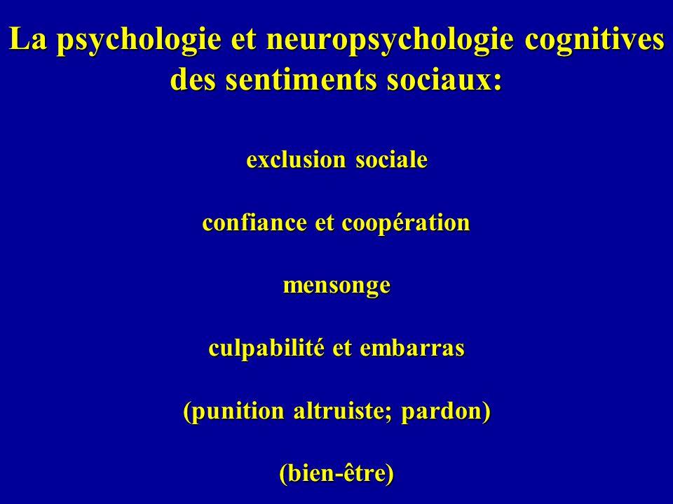 La psychologie et neuropsychologie cognitives des sentiments sociaux: exclusion sociale confiance et coopération mensonge culpabilité et embarras (punition altruiste; pardon) (bien-être)