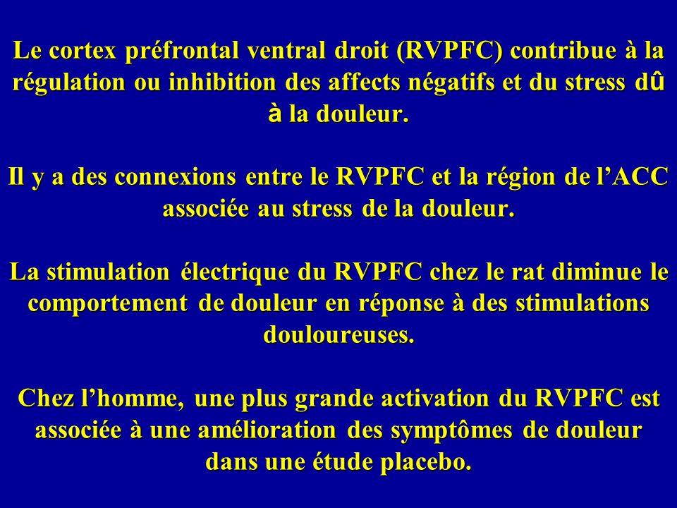 Le cortex préfrontal ventral droit (RVPFC) contribue à la régulation ou inhibition des affects négatifs et du stress dû à la douleur.