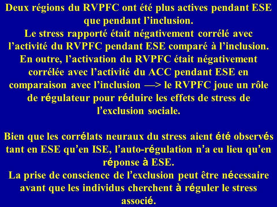 Deux régions du RVPFC ont été plus actives pendant ESE que pendant l'inclusion.