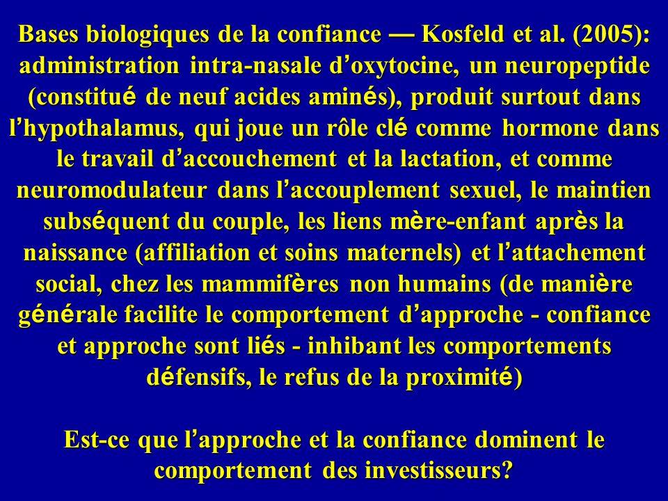 Bases biologiques de la confiance — Kosfeld et al