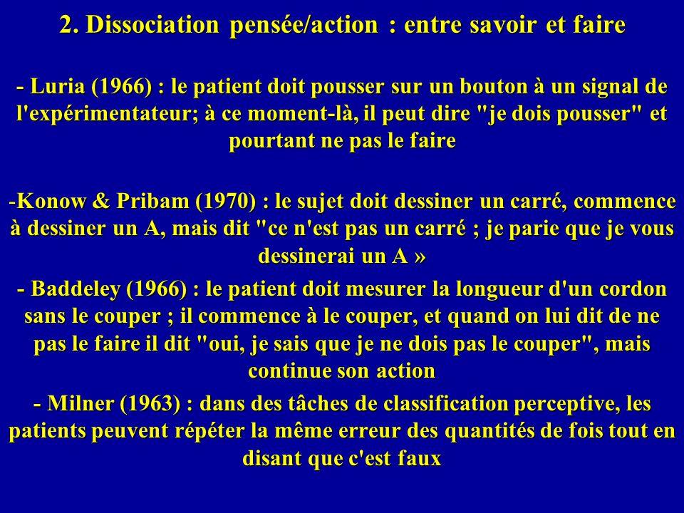 2. Dissociation pensée/action : entre savoir et faire - Luria (1966) : le patient doit pousser sur un bouton à un signal de l expérimentateur; à ce moment-là, il peut dire je dois pousser et pourtant ne pas le faire