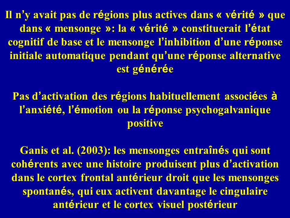 Il n'y avait pas de régions plus actives dans « vérité » que dans « mensonge »: la « vérité » constituerait l'état cognitif de base et le mensonge l'inhibition d'une réponse initiale automatique pendant qu'une réponse alternative est générée Pas d'activation des régions habituellement associées à l'anxiété, l'émotion ou la réponse psychogalvanique positive Ganis et al.