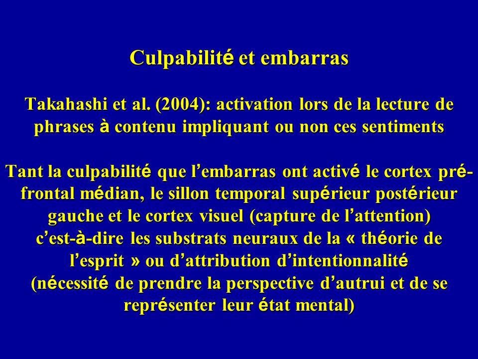 Culpabilité et embarras Takahashi et al