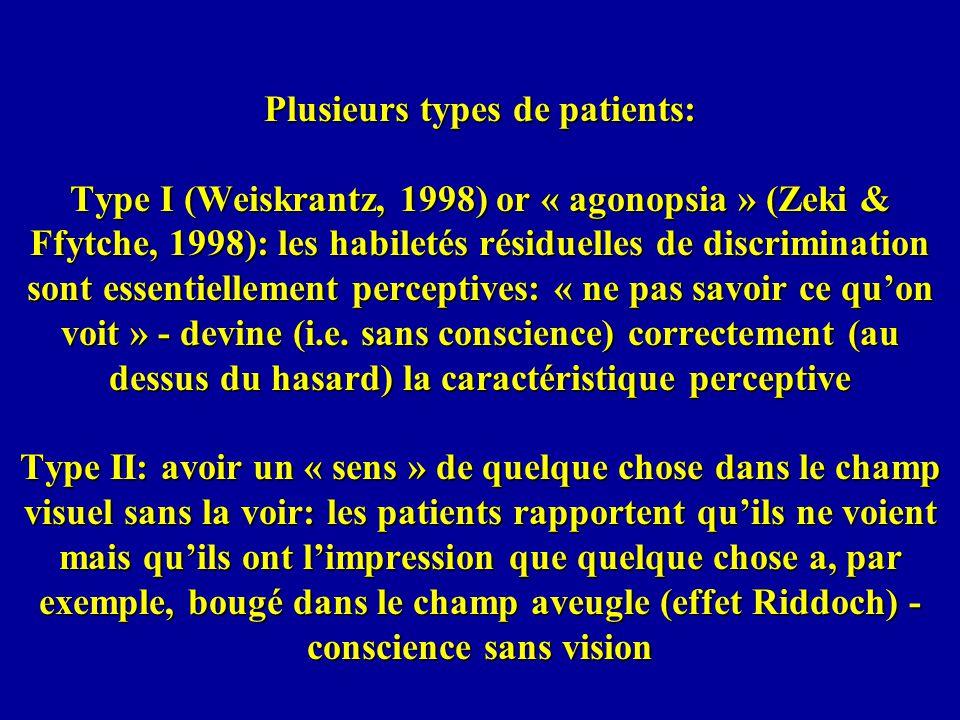 Plusieurs types de patients: Type I (Weiskrantz, 1998) or « agonopsia » (Zeki & Ffytche, 1998): les habiletés résiduelles de discrimination sont essentiellement perceptives: « ne pas savoir ce qu'on voit » - devine (i.e.