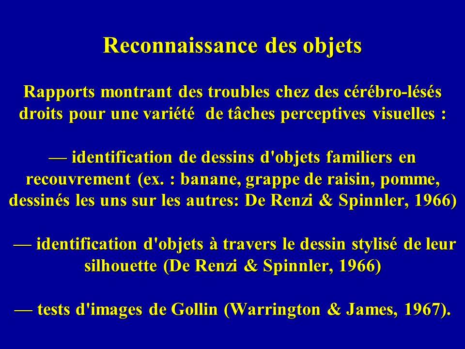 Reconnaissance des objets Rapports montrant des troubles chez des cérébro-lésés droits pour une variété de tâches perceptives visuelles : — identification de dessins d objets familiers en recouvrement (ex.